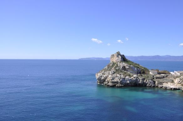La fantástica vista desde una de las paredes de Cala Fighera (Foto: André Freire)