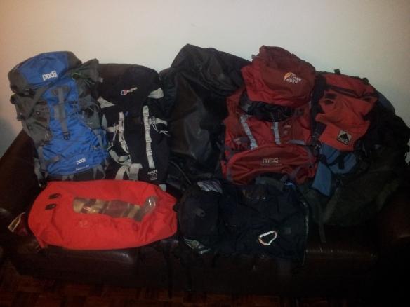 Todas mis mochilas y bolsos para la montaña y para escalar.